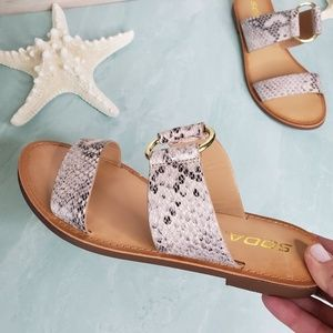 NEW Double Strap Python Sandals